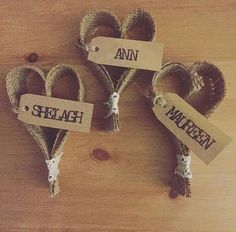 Gorgeous handmade hessian heart place cards. These are pieces of hessian shaped into a heart with a vintage lace wrap at base. I then add a hand stamped tag with any design/word of your choice. These will create a lovely personal touch to rustic, handmade, and vintage themed weddings as place settings, or for any other similar themed occasion. They can also be used a personal favor for your guests to take away with them as a memory of your special day. When placing your order please mes...