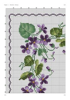 Violets chart Flower Ornaments, Bead Loom Patterns, Cross Stitch Patterns, Cloth Napkins, Loom Beading, Blackwork, Blackboards, Embroidery Stitches, Le Point