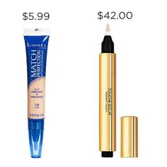 So in the event that you're not rollin' in dough and are cursed by student loans, save $32.01 with Rimmel London Match Perfection Skin Tone Adapting Concealer instead of YSL Touche Éclat.