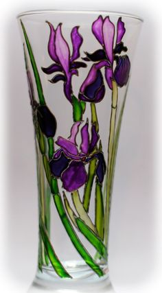 Painted Glass Blocks, Painted Glass Vases, Painted Wine Bottles, Glass Jars, Glass Painting Designs, Stained Glass Designs, Stained Glass Patterns, Stained Glass Flowers, Stained Glass Art