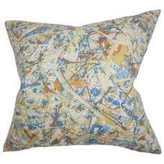 """This throw pillow is a work of art, which features a splash of colors in blue, brown, orange, white and yellow. The striking design in this toss pillow will certainly bring life to your living space. This 18"""" pillow is easy to mix and match with solids and other patterns. Made of 100% soft cotton material and constructed in the USA. $55.00 #abstractprint   #homedecor   #tosspillow   #pillows"""
