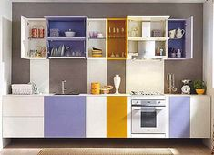 Kitchen, Yellow And Lavender Ikea Kitchen Cabinets On Small Kitchen Designs With Islands: Colorful Contemporary Kitchen Cabinets 2014 Kitchen Cabinet Color Schemes, Kitchen Cabinet Design, Kitchen Colors, Kitchen Interior, Kitchen Decor, Kitchen Yellow, Lavender Kitchen, Decorating Kitchen, Kitchen Ideas