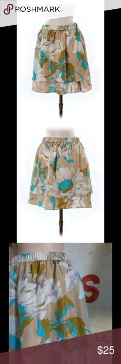 "Anthropologie Odille Silk Skirt Size Medium Condition: Excellent Color: Multi Fabric: 100% silk. Lined  Measurements: 18"" length  Elastic waist Anthropologie Skirts"