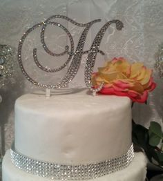 Monogram Wedding Cake Topper Swarovski by SpectacularEvents, $55.00