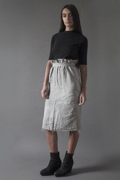 Hand Dyed Linen Straight Skirt   Nuances Collection by Kesa   www.atelierkesa.com