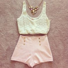 cute for summer! high-waisted shorts and lace crop top.. along with a pretty necklace :D