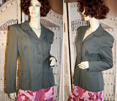 Tailored 40s Jacket, London, Gray White Flecked Wool, size M, from MorningGlorious