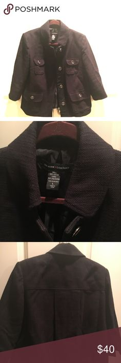 New York & Company Work Jacket Blazer - Worn Once Black work jacket - 100% cotton with polyester lining. Worn only once - beautiful buttons that add a little flare to a. Simple black jacket.  3/4 Sleeves and texture pattern.  Happy to send more pics and discount with a bundle. New York & Company Jackets & Coats Blazers