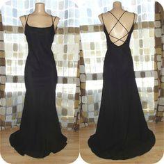 90s prom dress   Vintage 90s 30s Black Open Cage Back Bias Harlow Gown Formal Dress ...