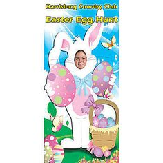 The Bunny Photo Stand In is perfect opportunity to take silly pictures of all your Easter Party guests. This bunny photo prop is approximately 3 feet  wide x 6 feet high.