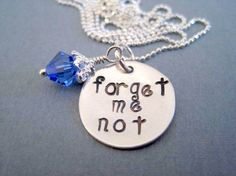 Sterling silver hand stamped necklace forget me not by marybeadz, $30.00
