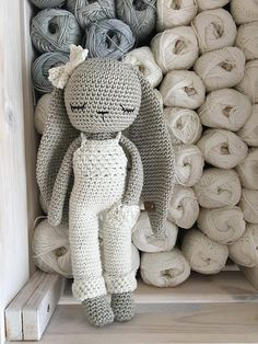 Lovely amigurumi crochet bunny boy with salopette trousers - hand crochet soft cuddly toy - perfect soft cuddly toy for your child. Colors: the main color of the bunny is silver, the color of the salopette » is natural-white, but you can choose your personal color, see color chart.