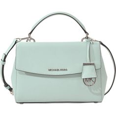 Michael Michael Kors Ava Small Satchel ($227) ❤ liked on Polyvore featuring bags, handbags, blue, satchel hand bags, blue purse, satchel bag, michael michael kors purse and handbag satchel
