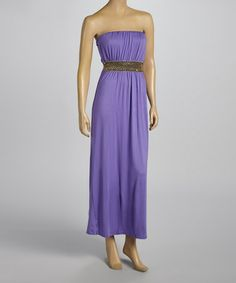 Love this Purple Embellished Strapless Maxi Dress by VELZERA