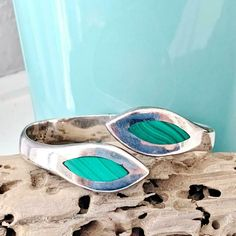 TAXCO Mexico Sterling Silver 925 Hinged Stack Stacking Clamp Bangle Bracelet #Taxco Sterling Jewelry, Sterling Silver, Silver Bangle Bracelets, Green Stone, Clamp, Malachite, Makers Mark, Really Cool Stuff, Turquoise Bracelet