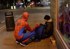 Birmingham in the UK has found itself with a real live superhero all its own. One anonymous 20-year-old man dons a Spiderman suit every night to deliver meals to local homeless people.