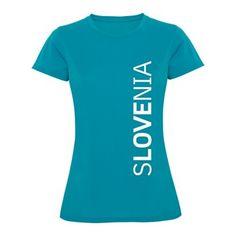 Ženska majica z natisnjenim motivom, 100% polyester DRY-FIT, oprijet kroj, 140g/m2. Kvalitetna športna navijaška majica blagovne znamke ROLY, z vertikalnim napison SLOV