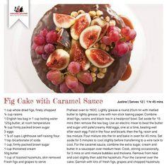 Recipe for Fig Cake with Caramel Sauce Gourmet Recipes, Baking Recipes, Cake Recipes, Fig Cake, Dried Figs, Everyday Food, Recipe Cards, Raisin, Caramel