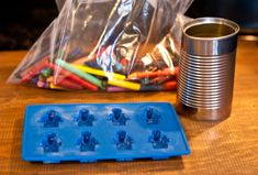 Melt old crayons in a can & pour them in the LEGO molds to create LEGO crayons
