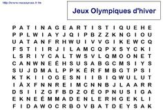 des mots mêlés sur les JO d'hiver Cycle 3, Winter Ideas, Olympics, Classroom Ideas, Thanksgiving, Math Equations, French, Words, Olympic Games