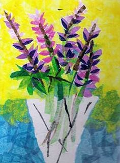 Tissue paper painting...love the colors and the layering effect.