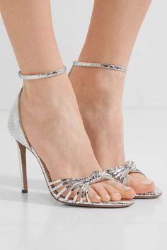 Altuzarra - Parker Snake-effect Mirrored-leather Sandals - Silver - IT39.5