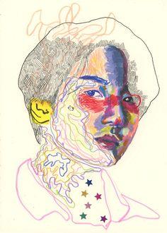 """딸기 on Twitter: """"light it up #JUNGKOOK #정국 #btsfanart… """" Bts Drawings, Art Drawings Sketches, Collage Design, Design Art, Hippie Art, Arte Popular, Sketchbook Inspiration, Colorful Drawings, Aesthetic Art"""