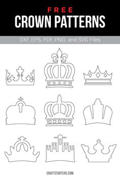 Free crown outline patterns in a variety of formats including images, vector files, and printable versions. Use them for crafting, cutting machines, and more. Felt Templates, Applique Templates, Templates Printable Free, Applique Patterns, Card Templates, Printables, Crown Template, Heart Template, Butterfly Template