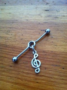 Industrial Barbell - Silver Music Note Industrial Barbell - Industrial Piercing via Etsy