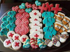 Retirement Quotes For Educators Sweet Cookies, Iced Cookies, Cut Out Cookies, Sugar Cookies Recipe, Cupcakes, Cupcake Cookies, Nurse Cookies, Halloween Cookies Decorated, Decorated Cookies