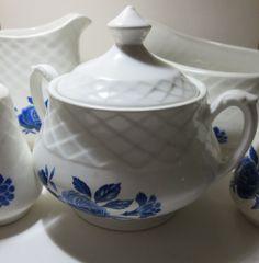 Enoch Wedgwood Blue Rose Ironstone, 5 Pieces