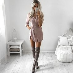 """@windsorstore getting me excited for Winter fashion ❄️ shirt dresses + thigh high boots are the ultimate combo """