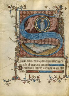 Initial S: David in the Water; about Tempera colors, gold leaf, and ink on parchment; Medieval Manuscript, Medieval Art, Illuminated Letters, Illuminated Manuscript, Water Artists, Getty Museum, Hyperrealism, Museum Collection, Land Art