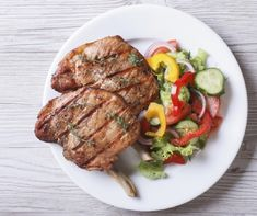 Pork meat grilled with fresh vegetable salad top view. Pork meat grilled with fr , Pork Meat, Beef Steak, Dog Recipes, Cooking Recipes, Salad Topping, Grilled Pork, Vegetable Salad, Fresh Vegetables, Healthy Chicken