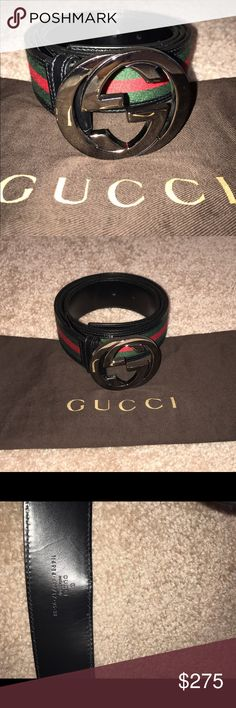 Like New! 👀🌟Unisex Gucci Belt- size 38 Classic red black and green leather belt size 38 and silver hardware. 1 minor small scratch on the buckle- can't see it in the picture. Comes with dust bag. All items in my closet are Personally bought and pre-owned. 💯 % authentic! Can be worn by either male or female. Gucci Accessories Belts