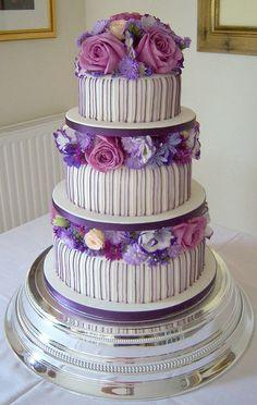 Classy Purple and Lilac Striped Wedding Cake by handmadebyhannah, via Flickr