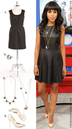 3004de7f5a Dress by Number  Kerry Washington s Leather Dress and Tan Heels - The  Budget Babe