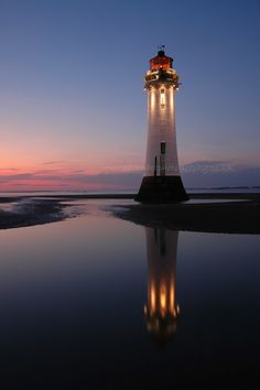 The Light Keeper by Ed Rhodes - Sunset at New Brighton, England