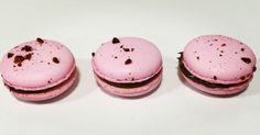 macarons de frambuesa liofilizada relleno de ganache de chocolate negro