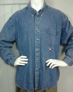 Vintage Tommy Hilfiger Jeans Mens XXL Denim Long Sleeve Shirt Flag spellout logo #TommyHilfiger #ButtonFront