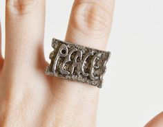 Vintage 60s 70s PEACE Ring Silver Tone Metal / 1960s 1970s