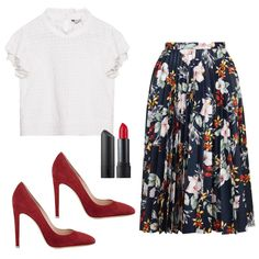 Office Outfit To Cocktail Attire: Pair a feminine white blouse with a floral midi skirt, red pumps & a swipe of red lipstick to make your look cocktail-friendly