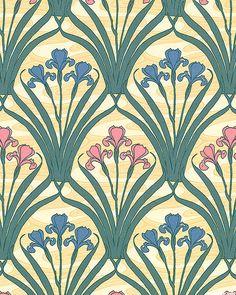 Art Nouveau - William Morris Iris - Buttercreme