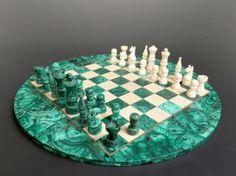 Bone & Malachite Chess Set