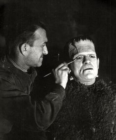 From Beauty And Terror Dance at Tumblr: Jack Pierce touching up Boris Karloff for the Son of Frankenstein, 1939
