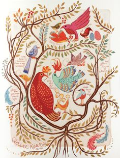 Whimsical folksy concept art with a natural bird pattern found on the mural art in Rapunzel's tower, by Claire Keane Tangled Concept Art, Disney Concept Art, Art And Illustration, Art Illustrations, Bird Prints, Framed Art Prints, Disney Tangled, Tangled Rapunzel, Tangle Art