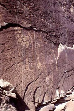 Fremont Couple, Rainbow Park area, Dinosaur National Monument. These two anthropomorphs are unique in that they seem to be holding hands. Their trapezoidal forms and body decorations are characteristics of Classic Vernal Style. The NEXT page presents more Fremont culture area rock art.