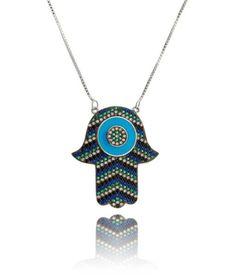 colar mão de fátima com zirconias coloridas semi joias mistiscas