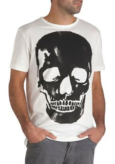 Cranial Cool Tee: If your fellas always got fashion on the brain  help him hone his wardrobe into one thats boss to the bone by buying him this white cotton T-shirt. Designed wit…    #1960s #60s #Retro #Vintage #CranialCoolTee, #ModCloth