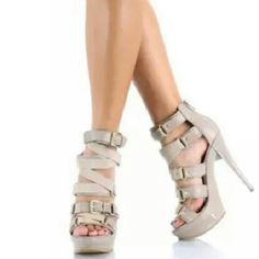 Taupe Colored Heels These beautiful heels are brand new in the box . Shoes Heels